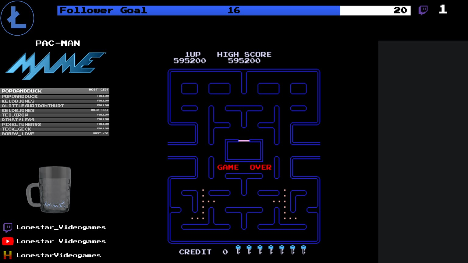 LonestarVideogames: Pac-Man [Turbo] [pacmanf] (Arcade Emulated / M.A.M.E.) 595,200 points on 2020-08-05 19:33:20