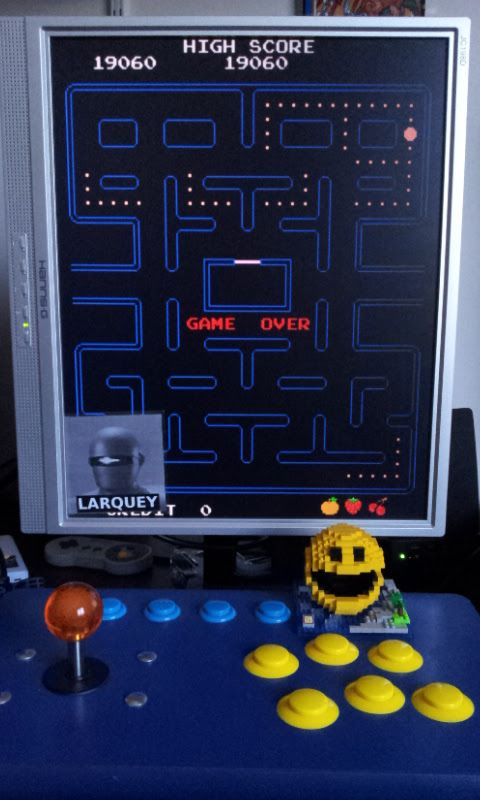 Larquey: Pac-Man [pacman] (Arcade Emulated / M.A.M.E.) 19,060 points on 2017-02-25 05:13:56