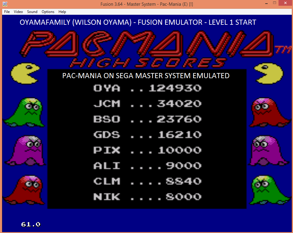 oyamafamily: Pac-Mania (Sega Master System Emulated) 124,930 points on 2016-06-05 13:52:41