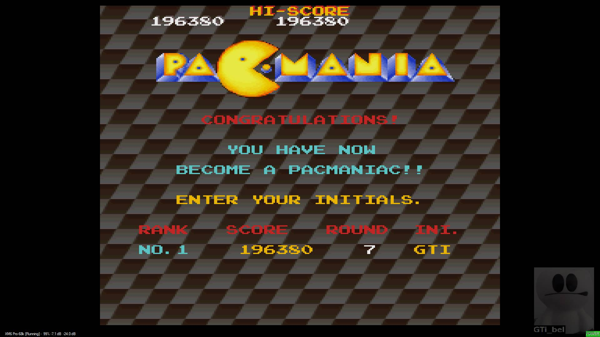 GTibel: Pac-Mania (Sharp X68000 Emulated) 196,380 points on 2020-01-19 04:49:07