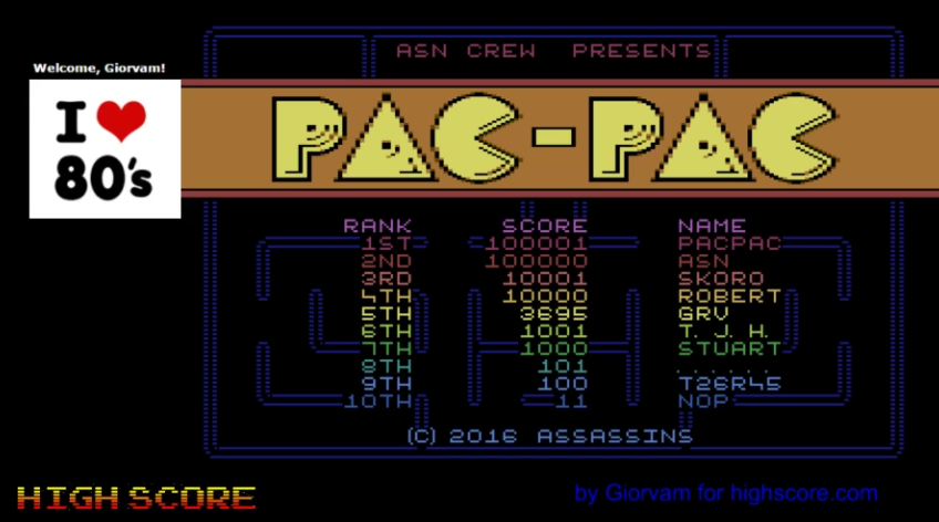 Pac-Pac 3,695 points
