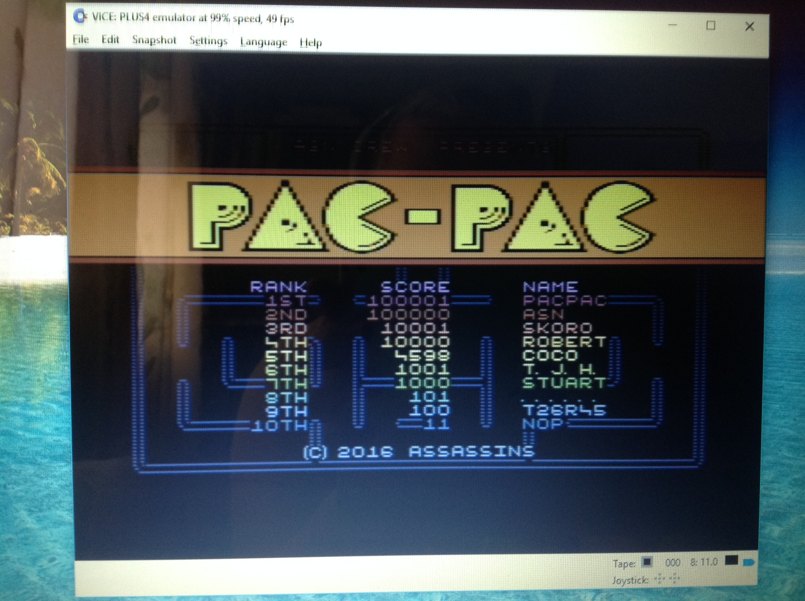 CoCoForest: Pac-Pac (Commodore 16/Plus4 Emulated) 4,598 points on 2017-08-14 04:11:20