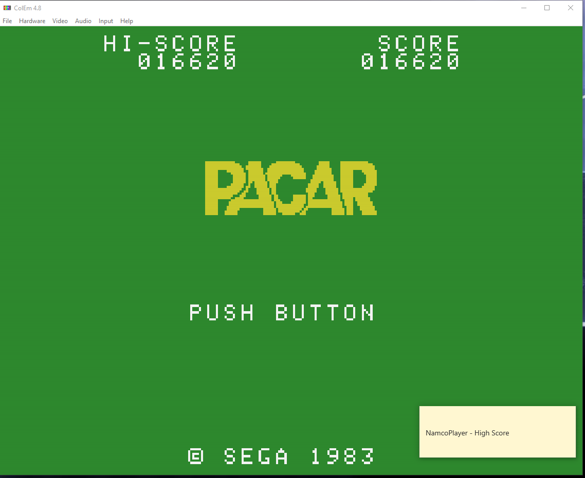 NamcoPlayer: Pacar (Colecovision Emulated) 16,620 points on 2020-11-01 14:27:50