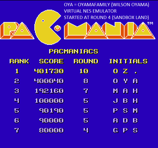 oyamafamily: Pacmania (NES/Famicom Emulated) 400,040 points on 2015-09-19 20:53:28
