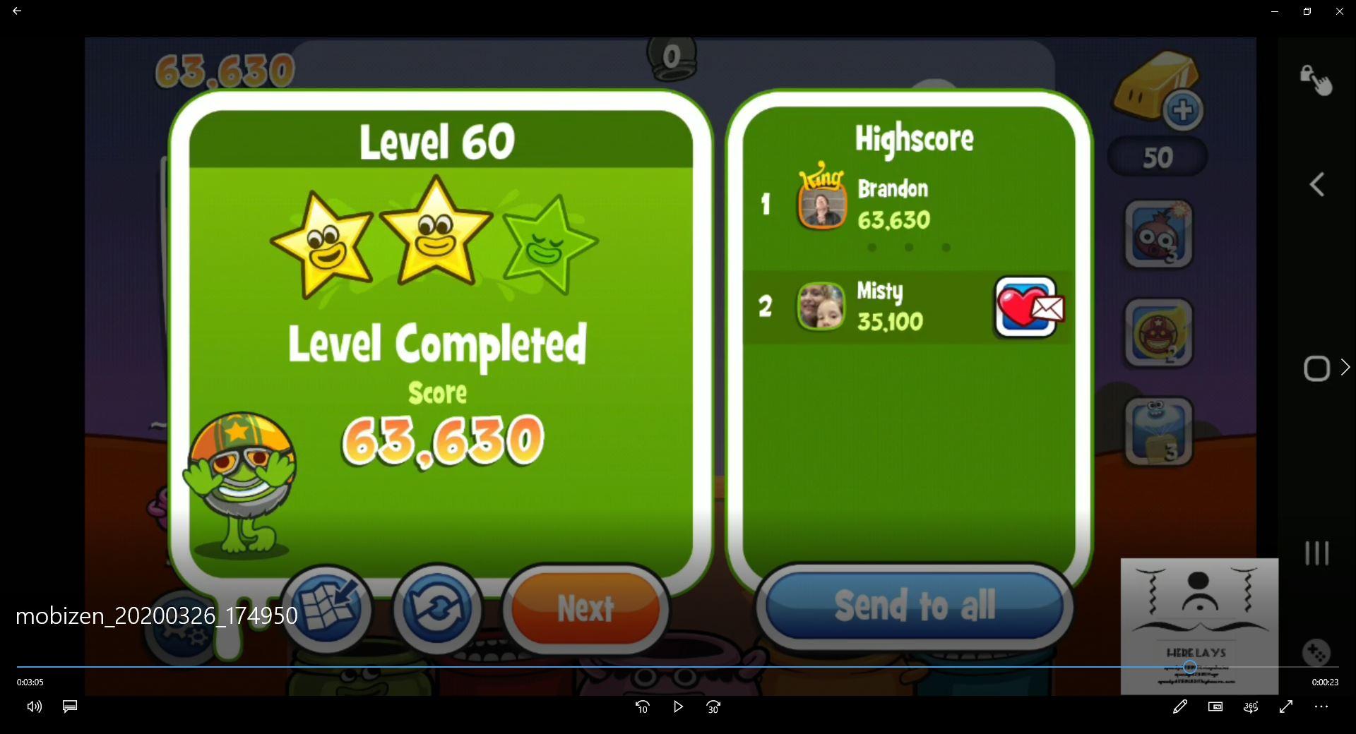 speedy4759123: Papa Pear Saga: Level 060 (Android) 63,630 points on 2020-04-07 15:52:16