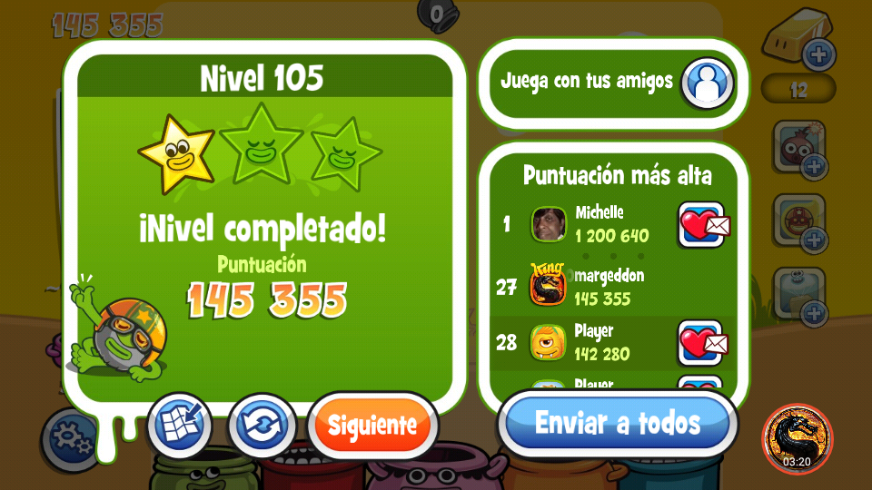 omargeddon: Papa Pear Saga: Level 105 (Android) 145,355 points on 2019-10-01 00:13:33