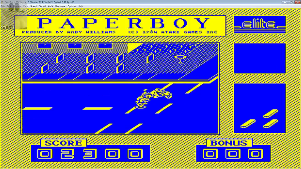 GTibel: Paperboy (BBC Micro Emulated) 2,300 points on 2016-09-17 02:22:22