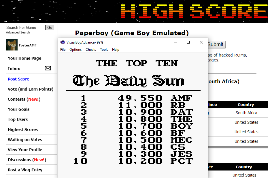 FosterAMF: Paperboy (Game Boy Emulated) 49,550 points on 2016-02-24 13:55:22