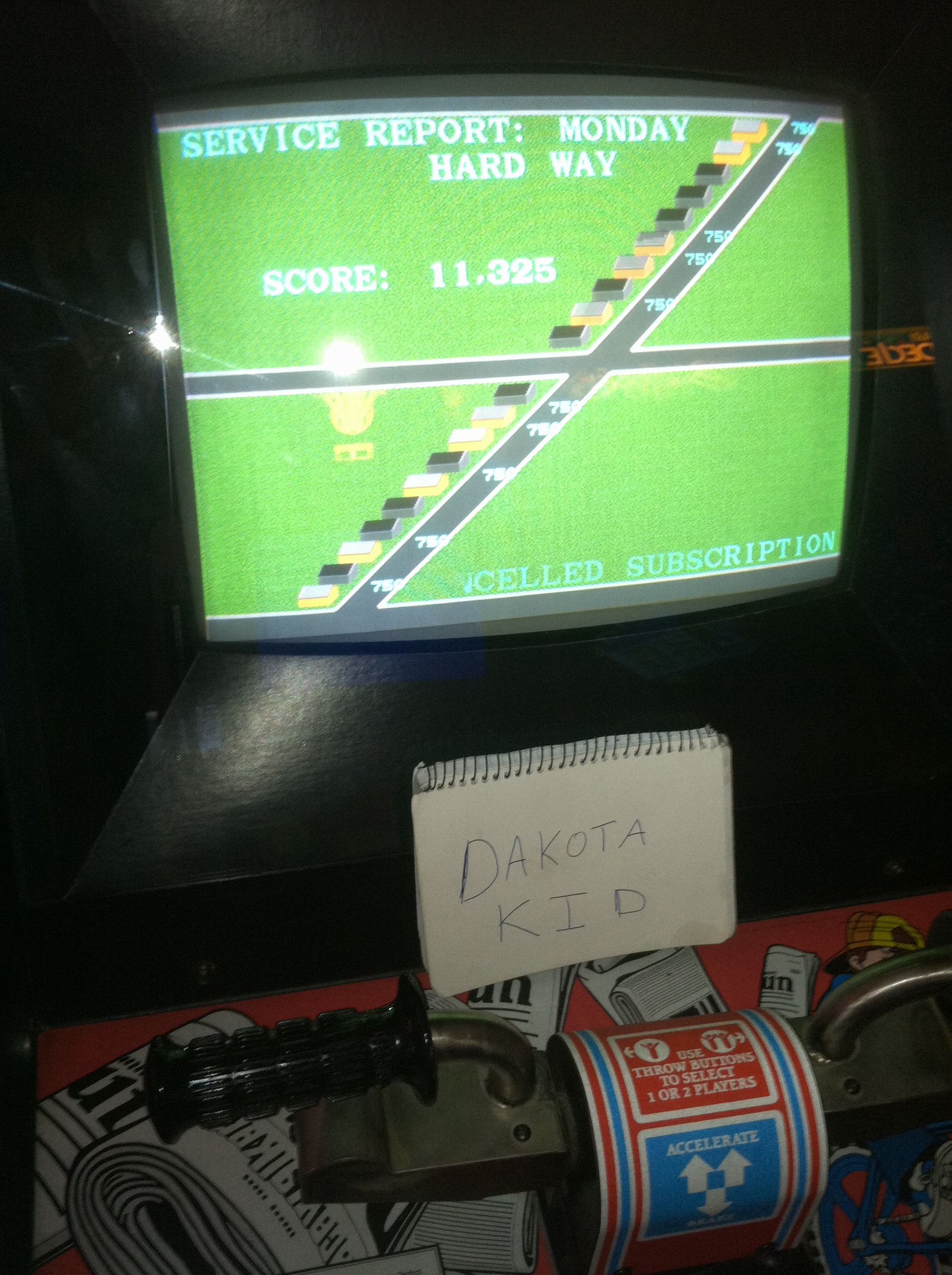 DakotaKid: Paperboy [Hard Way: 3 Lives] (Arcade) 11,325 points on 2018-10-12 15:19:27