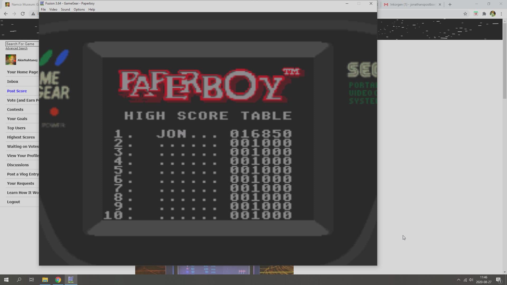 AkinNahtanoj: Paperboy [Hard Way] (Sega Game Gear Emulated) 16,850 points on 2020-08-27 05:00:55