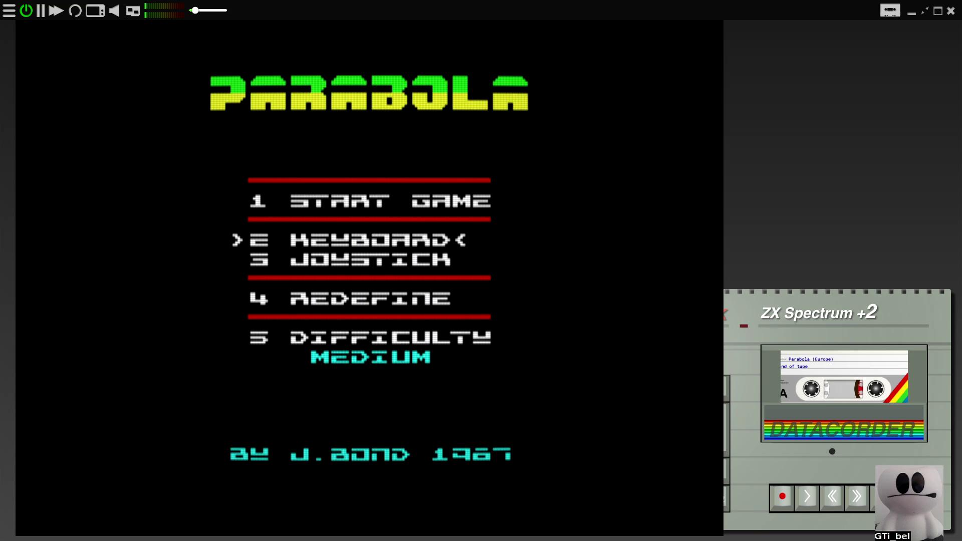 GTibel: Parabola [Medium] (ZX Spectrum Emulated) 24,200 points on 2020-07-27 13:11:50