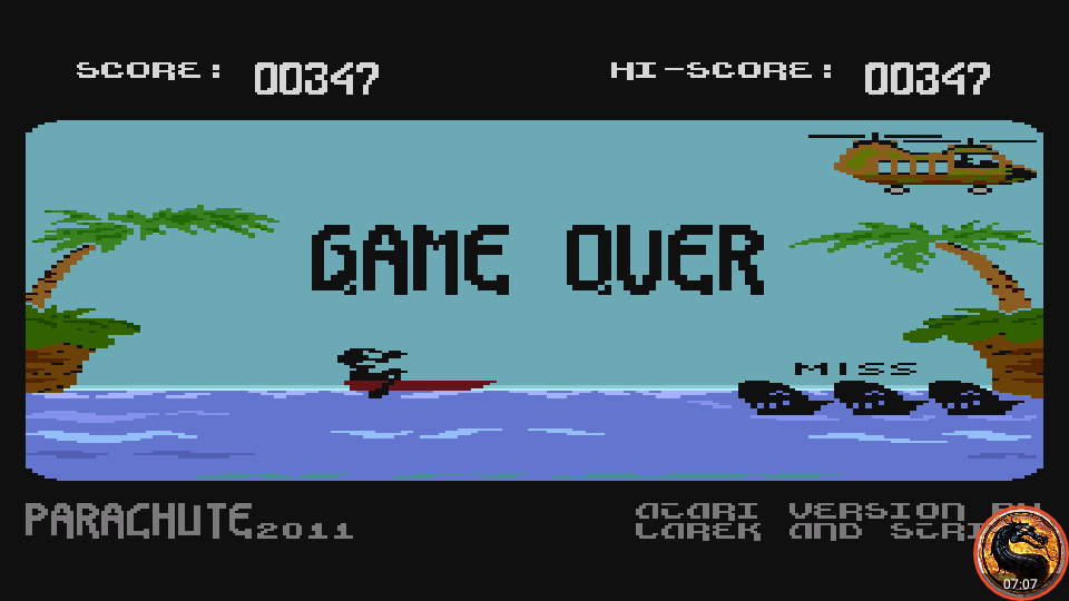 omargeddon: Parachute 2011 (Atari 400/800/XL/XE Emulated) 347 points on 2019-02-28 21:09:13
