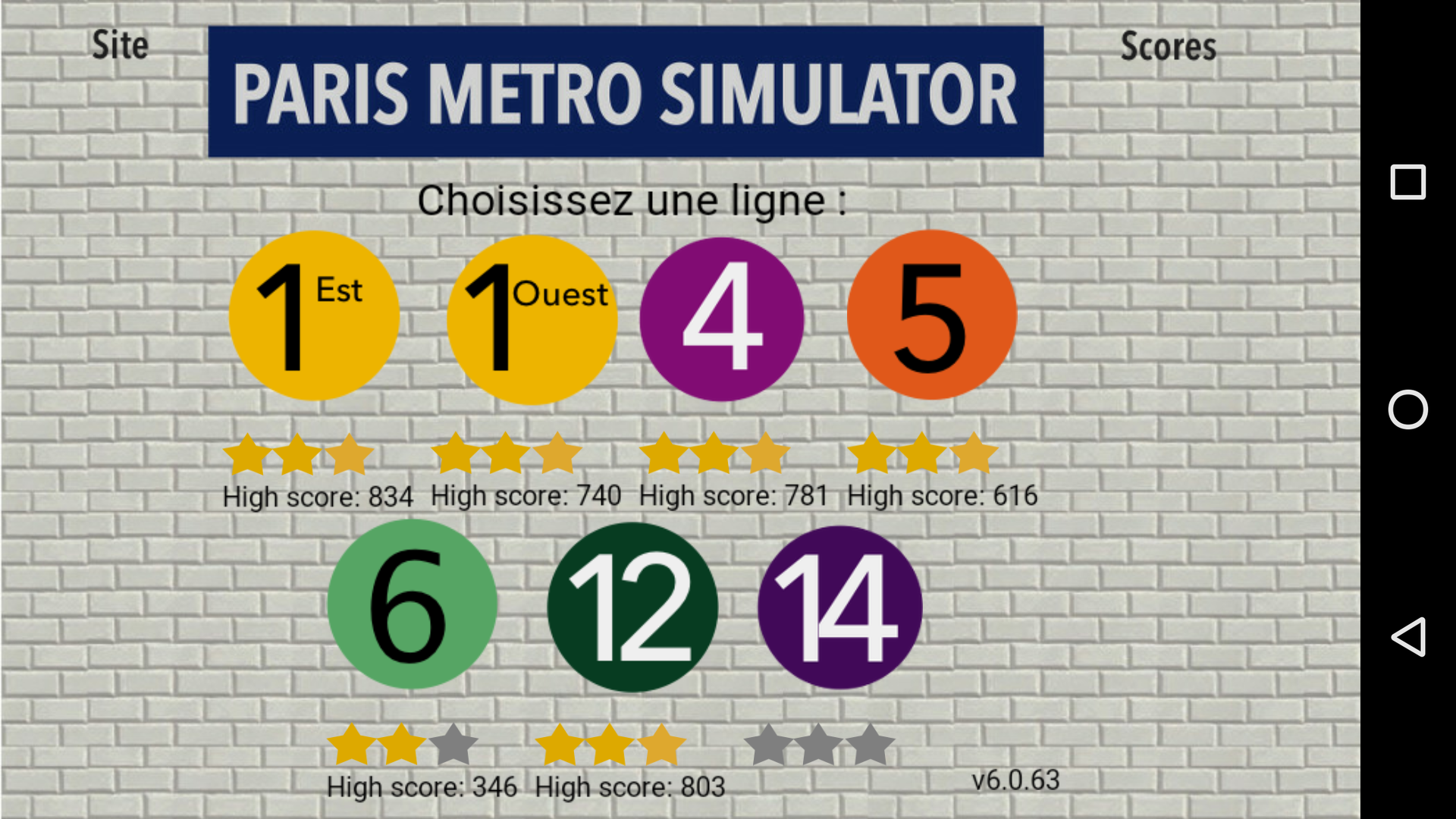 Mantalow: Paris Metro Simulator [Line 4] (Android) 781 points on 2015-12-11 02:09:14