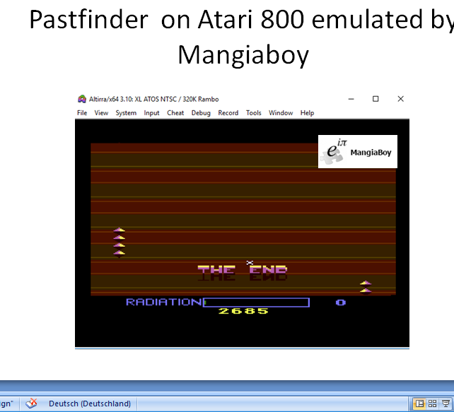 MangiaBoy: Pastfinder (Atari 400/800/XL/XE Emulated) 2,685 points on 2019-01-01 07:20:23