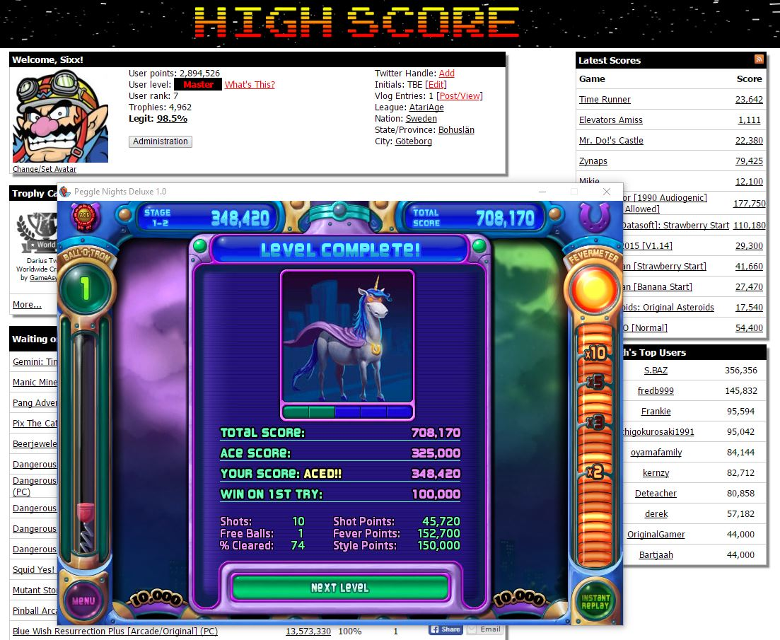 Sixx: Peggle Nights: Level 1-2 (PC) 348,420 points on 2016-06-18 15:10:49