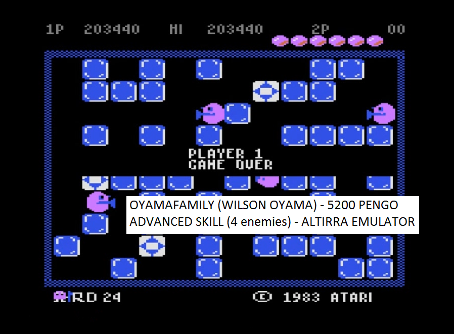 oyamafamily: Pengo: Advanced (Atari 5200 Emulated) 203,440 points on 2016-07-17 13:00:02