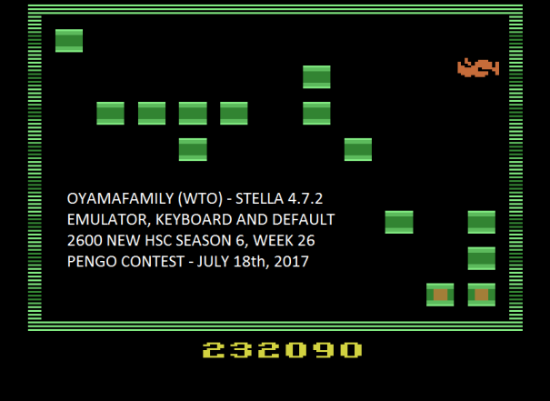 oyamafamily: Pengo (Atari 2600 Emulated) 232,090 points on 2017-07-30 19:31:16