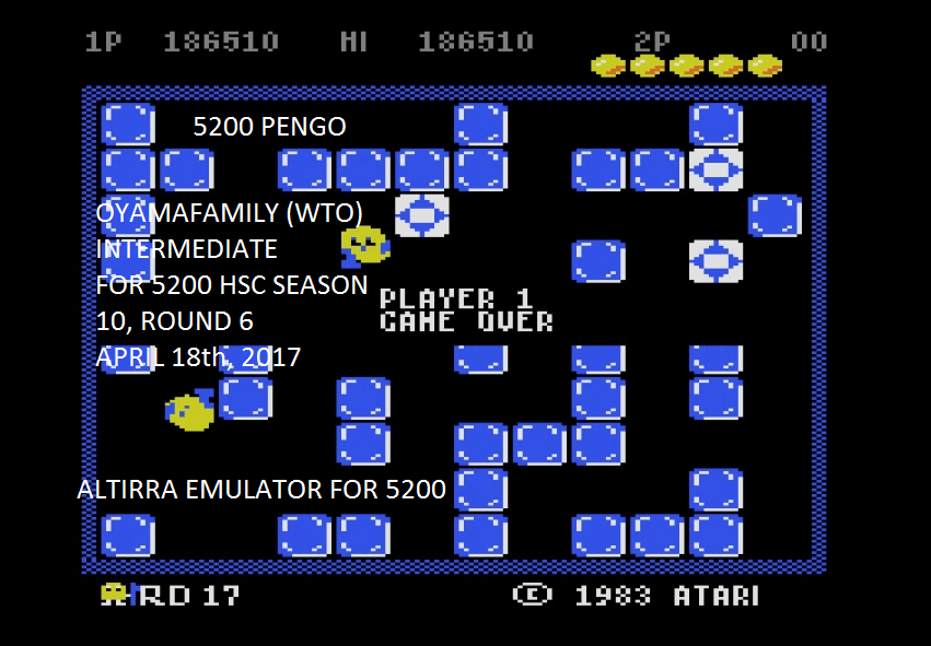 oyamafamily: Pengo (Atari 5200 Emulated) 186,510 points on 2017-04-19 20:31:11