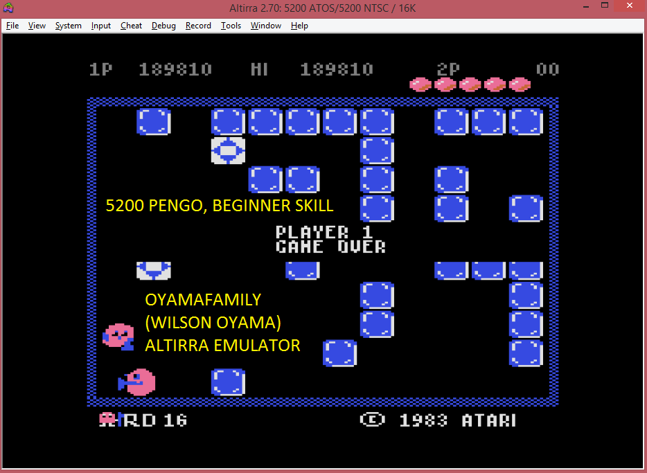 oyamafamily: Pengo: Beginner (Atari 5200 Emulated) 189,810 points on 2016-07-23 19:52:41