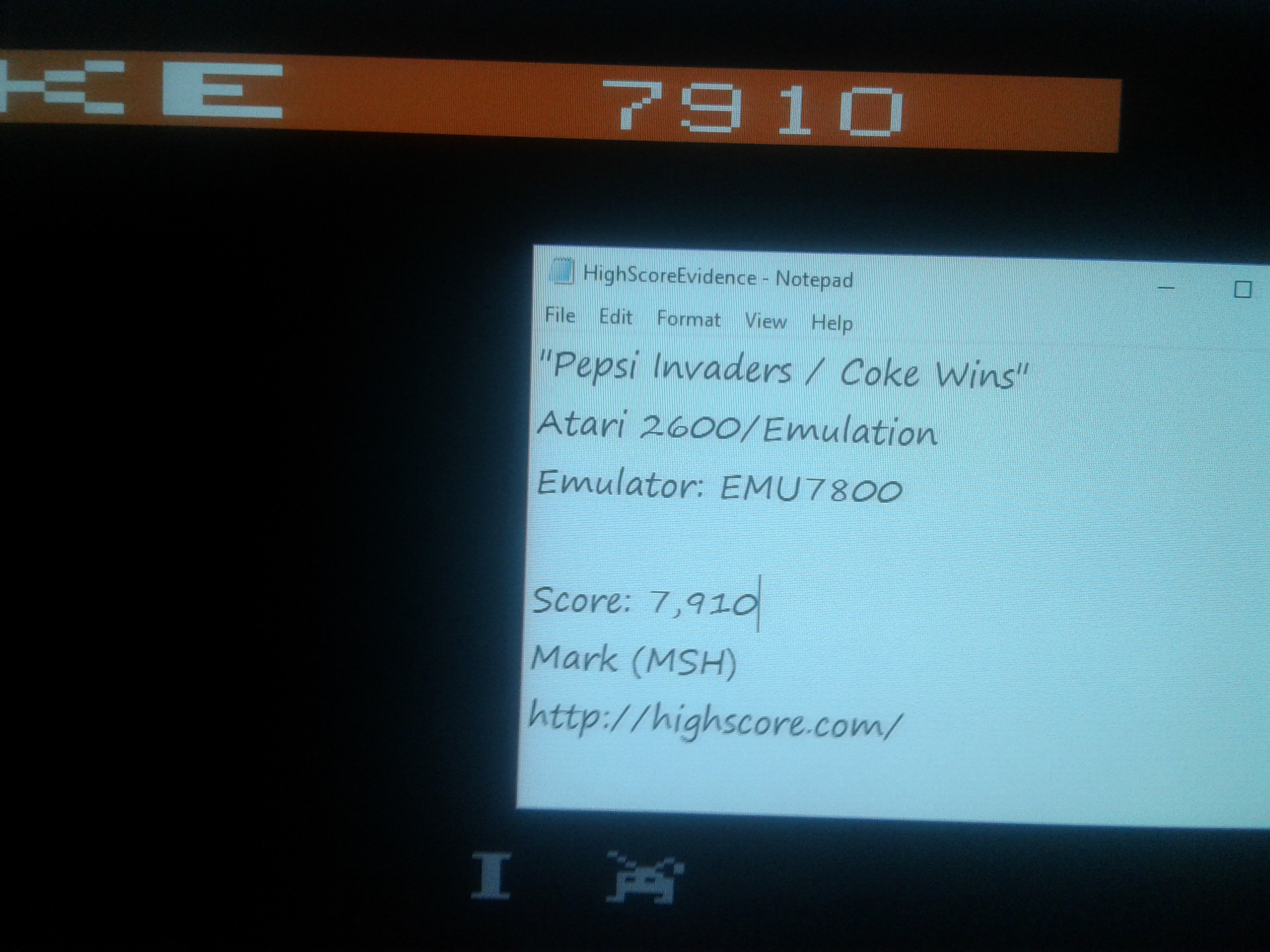 Mark: Pepsi Invaders / Coke Wins (Atari 2600 Emulated) 7,910 points on 2019-01-19 01:09:40