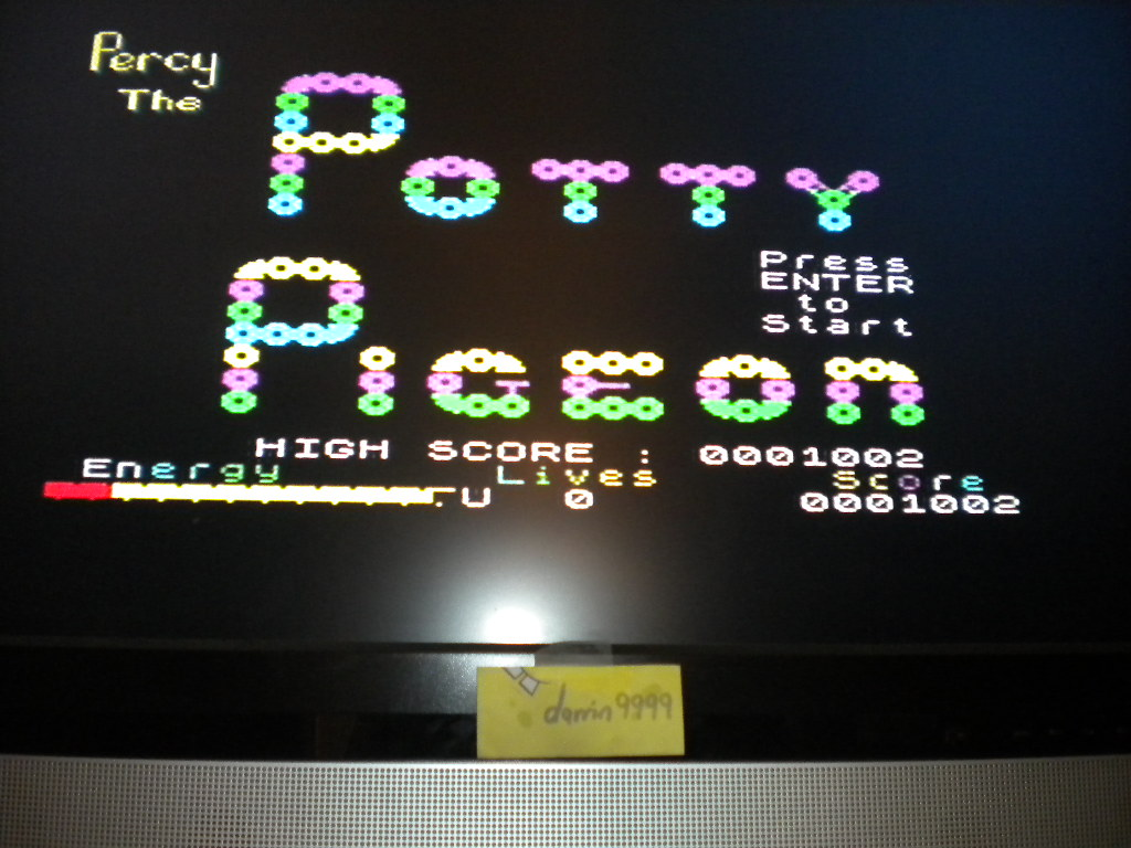 darrin9999: Percy the Potty Pigeon (ZX Spectrum Emulated) 1,002 points on 2016-08-11 10:38:15