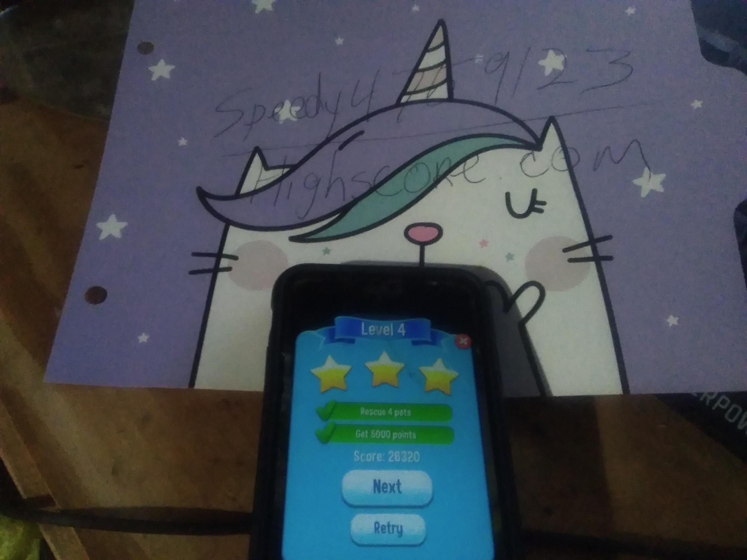 speedy4759123: Pet Rescue Saga: Level 004 (iOS) 26,320 points on 2019-09-04 10:43:21
