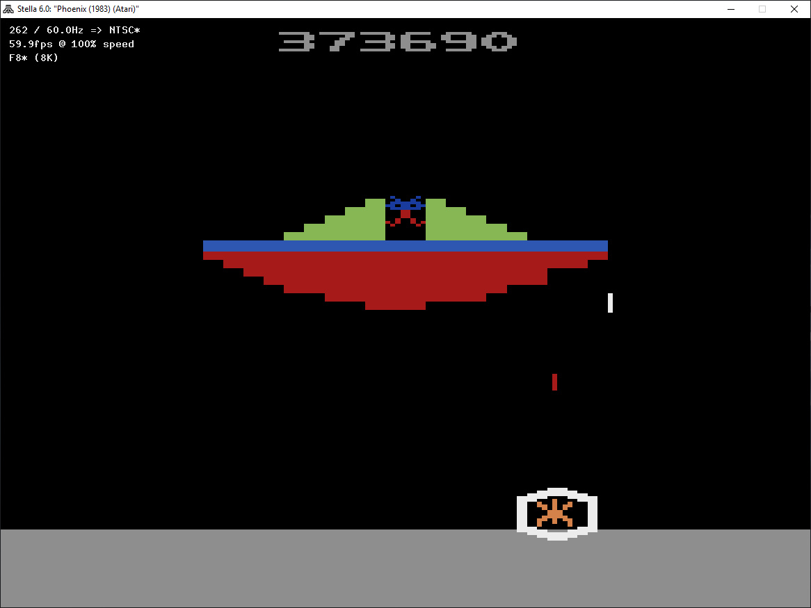 ZilchSr: Phoenix (Atari 2600 Emulated Expert/A Mode) 373,690 points on 2019-05-21 00:03:00