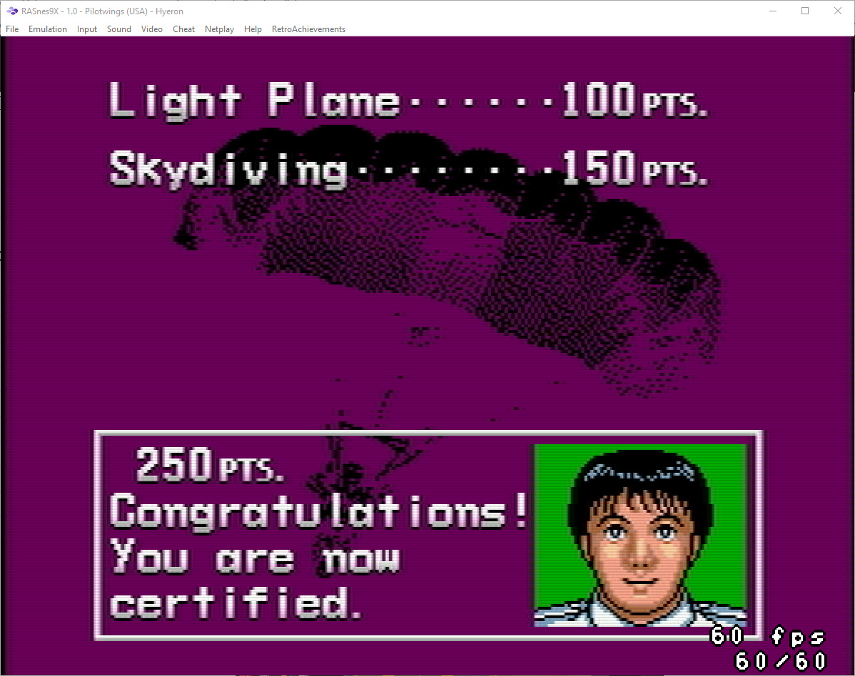Pilotwings [Flight Area 1] 250 points