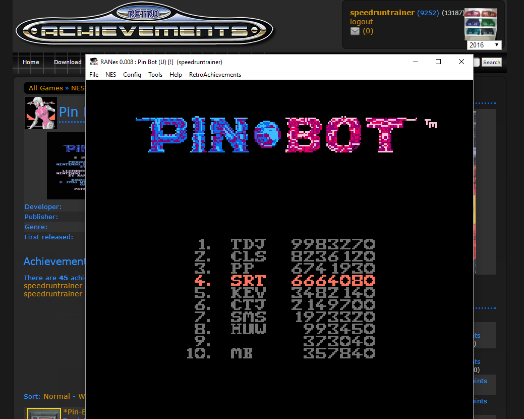speedruntrainer: Pin*Bot (NES/Famicom Emulated) 6,664,080 points on 2016-01-24 13:16:42
