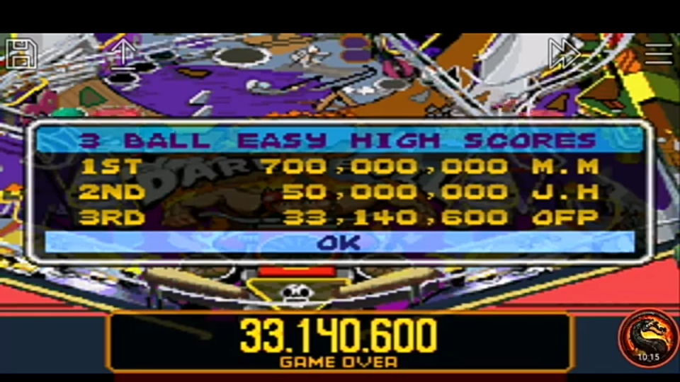 omargeddon: Pinball Advance: Dare Devil [3 Balls] [Easy] (GBA Emulated) 33,140,600 points on 2020-12-25 14:04:22