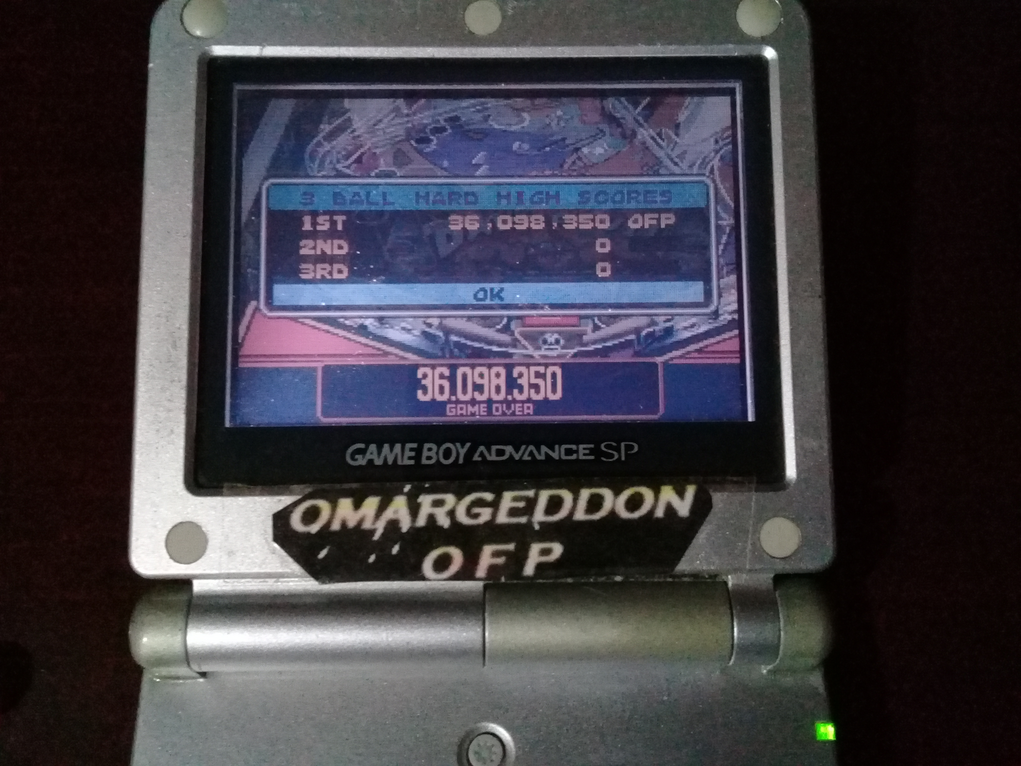 omargeddon: Pinball Advance: Dare Devil [3 Balls] [Hard] (GBA) 36,098,350 points on 2019-09-15 11:22:38