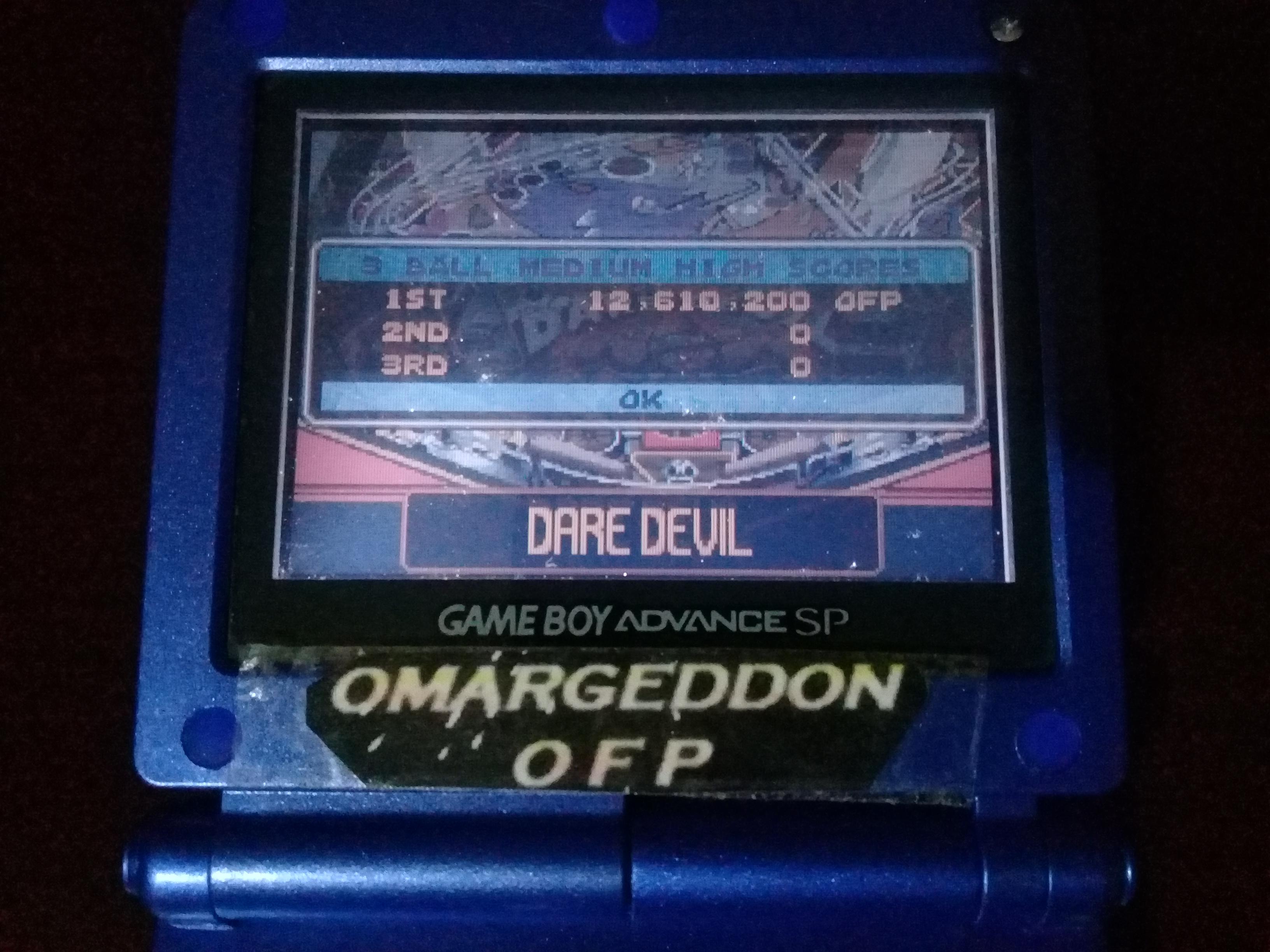 omargeddon: Pinball Advance: Dare Devil [3 Balls] [Medium] (GBA) 12,610,200 points on 2020-12-25 14:16:48