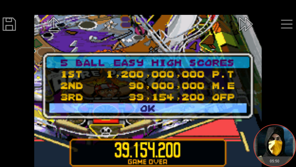 omargeddon: Pinball Advance: Dare Devil [5 Balls] [Easy] (GBA Emulated) 39,154,200 points on 2018-03-25 16:57:52