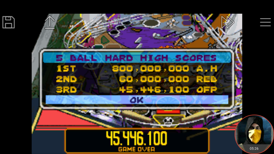 omargeddon: Pinball Advance: Dare Devil [5 Balls] [Hard] (GBA Emulated) 45,446,100 points on 2018-03-25 16:59:29