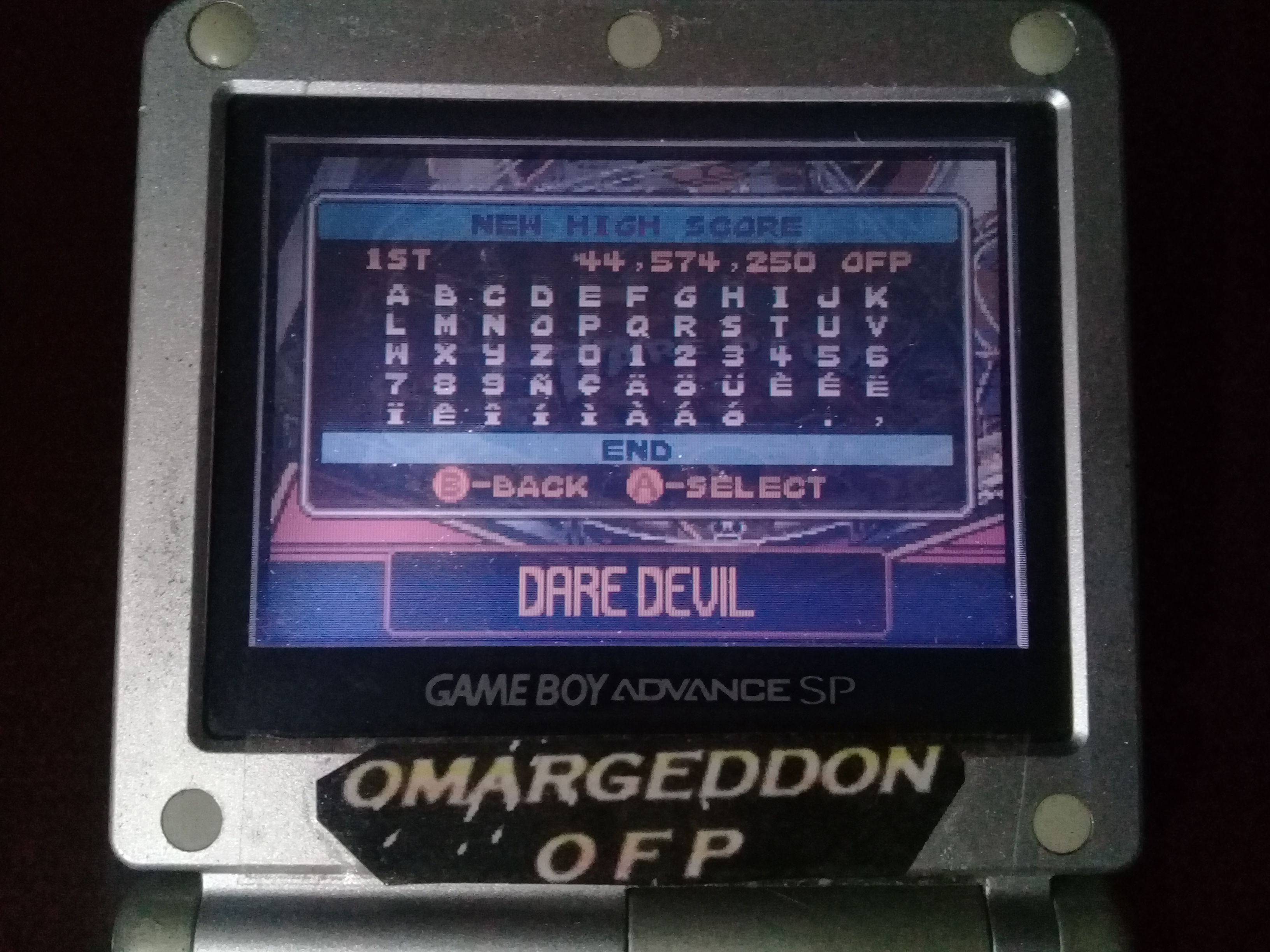 omargeddon: Pinball Advance: Dare Devil [5 Balls] [Hard] (GBA) 44,574,250 points on 2019-10-03 00:17:08
