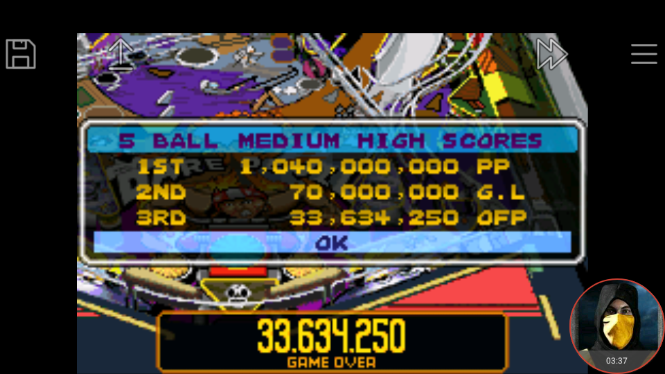 omargeddon: Pinball Advance: Dare Devil [5 Balls] [Medium] (GBA Emulated) 33,634,250 points on 2018-03-25 16:58:35