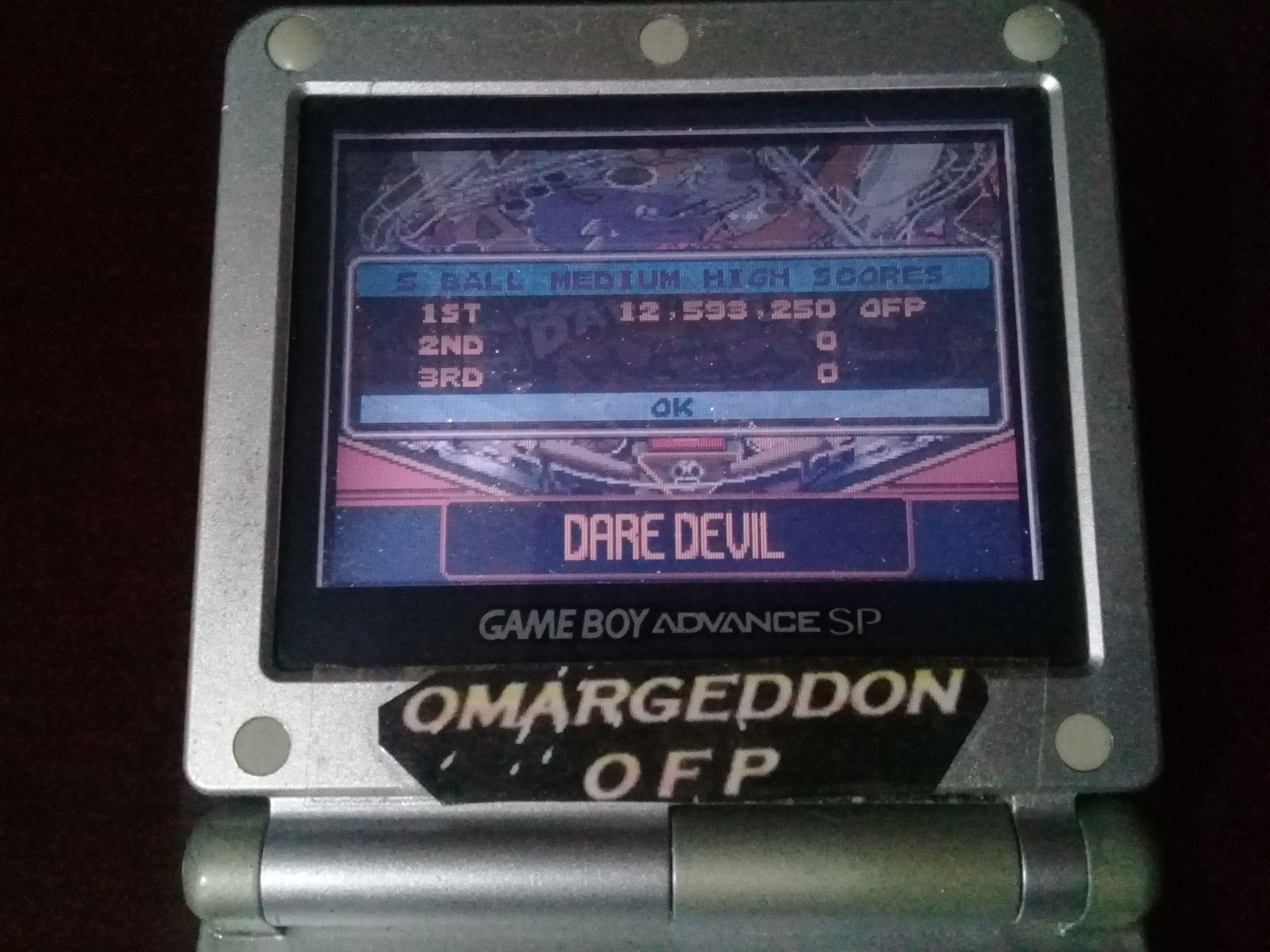 omargeddon: Pinball Advance: Dare Devil [5 Balls] [Medium] (GBA) 12,593,250 points on 2019-10-02 23:40:24