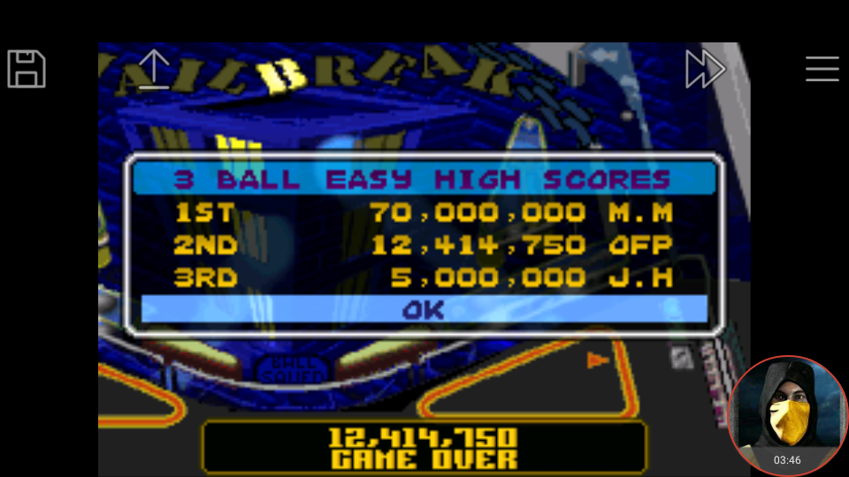 omargeddon: Pinball Advance: Jailbreak [3 Balls] [Easy] (GBA Emulated) 12,414,750 points on 2018-03-26 16:52:12