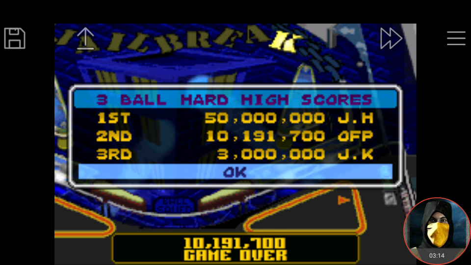 omargeddon: Pinball Advance: Jailbreak [3 Balls] [Hard] (GBA Emulated) 10,191,700 points on 2018-03-26 17:44:13