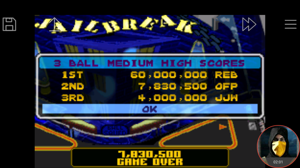 omargeddon: Pinball Advance: Jailbreak [3 Balls] [Medium] (GBA Emulated) 7,830,500 points on 2018-03-26 17:42:43