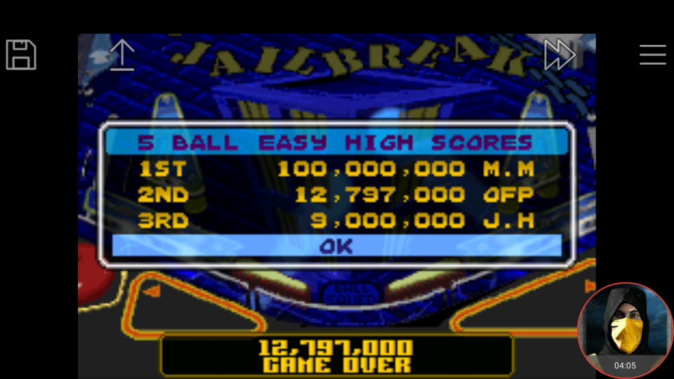 omargeddon: Pinball Advance: Jailbreak [5 Balls] [Easy] (GBA Emulated) 12,797,000 points on 2018-03-26 17:46:49
