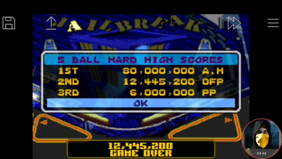 omargeddon: Pinball Advance: Jailbreak [5 Balls] [Hard] (GBA Emulated) 12,445,200 points on 2018-04-29 23:38:46