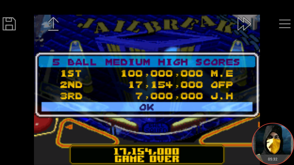 omargeddon: Pinball Advance: Jailbreak [5 Balls] [Medium] (GBA Emulated) 17,154,000 points on 2018-03-26 17:48:44