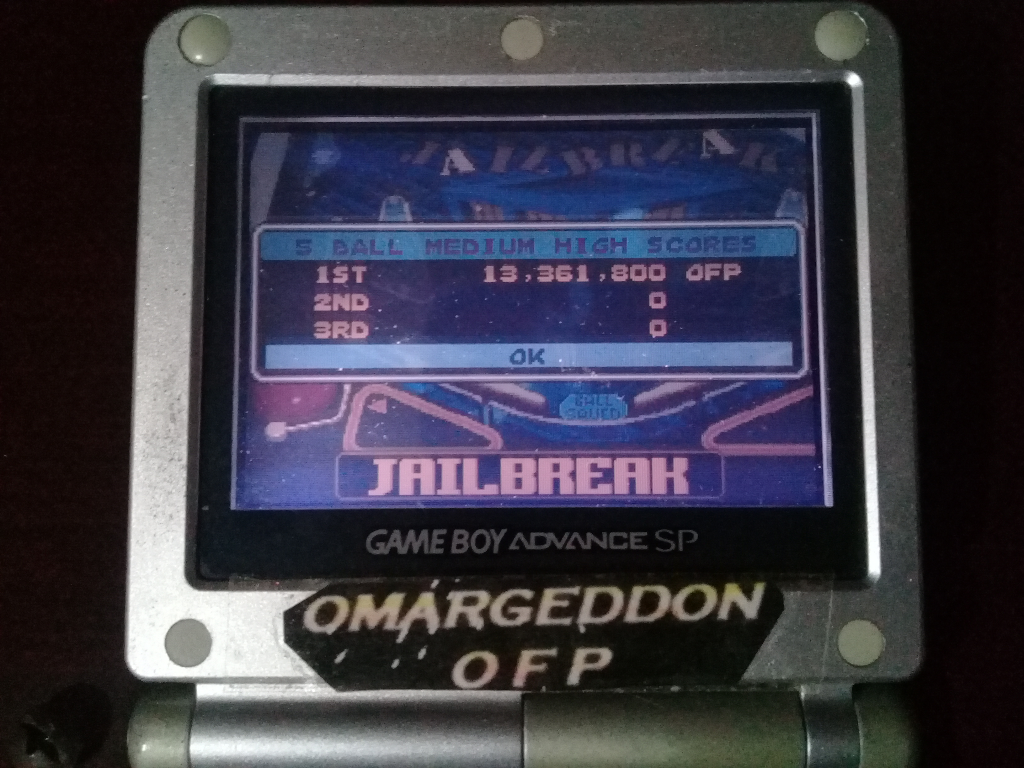 omargeddon: Pinball Advance: Jailbreak [5 Balls] [Medium] (GBA) 13,361,800 points on 2019-10-13 10:35:27