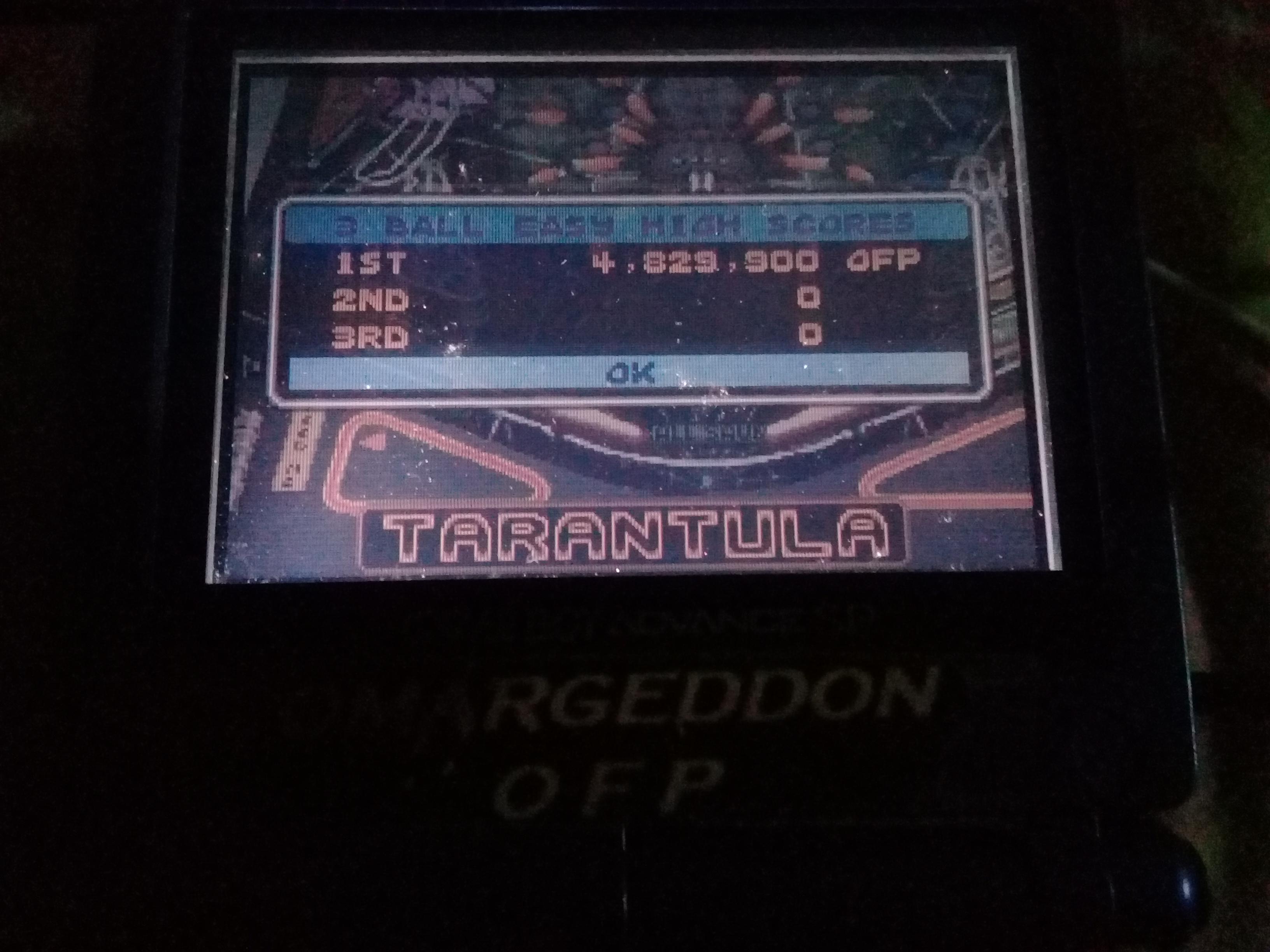 omargeddon: Pinball Advance: Tarantula [3 Balls] [Easy] (GBA) 4,829,900 points on 2021-03-18 20:42:43