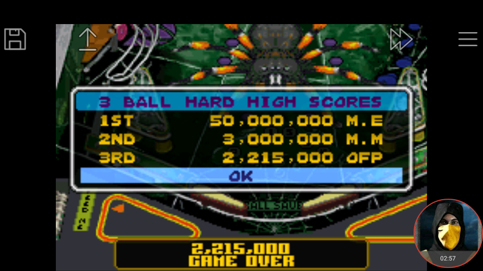 omargeddon: Pinball Advance: Tarantula [3 Balls] [Hard] (GBA Emulated) 2,215,000 points on 2018-03-28 20:58:41