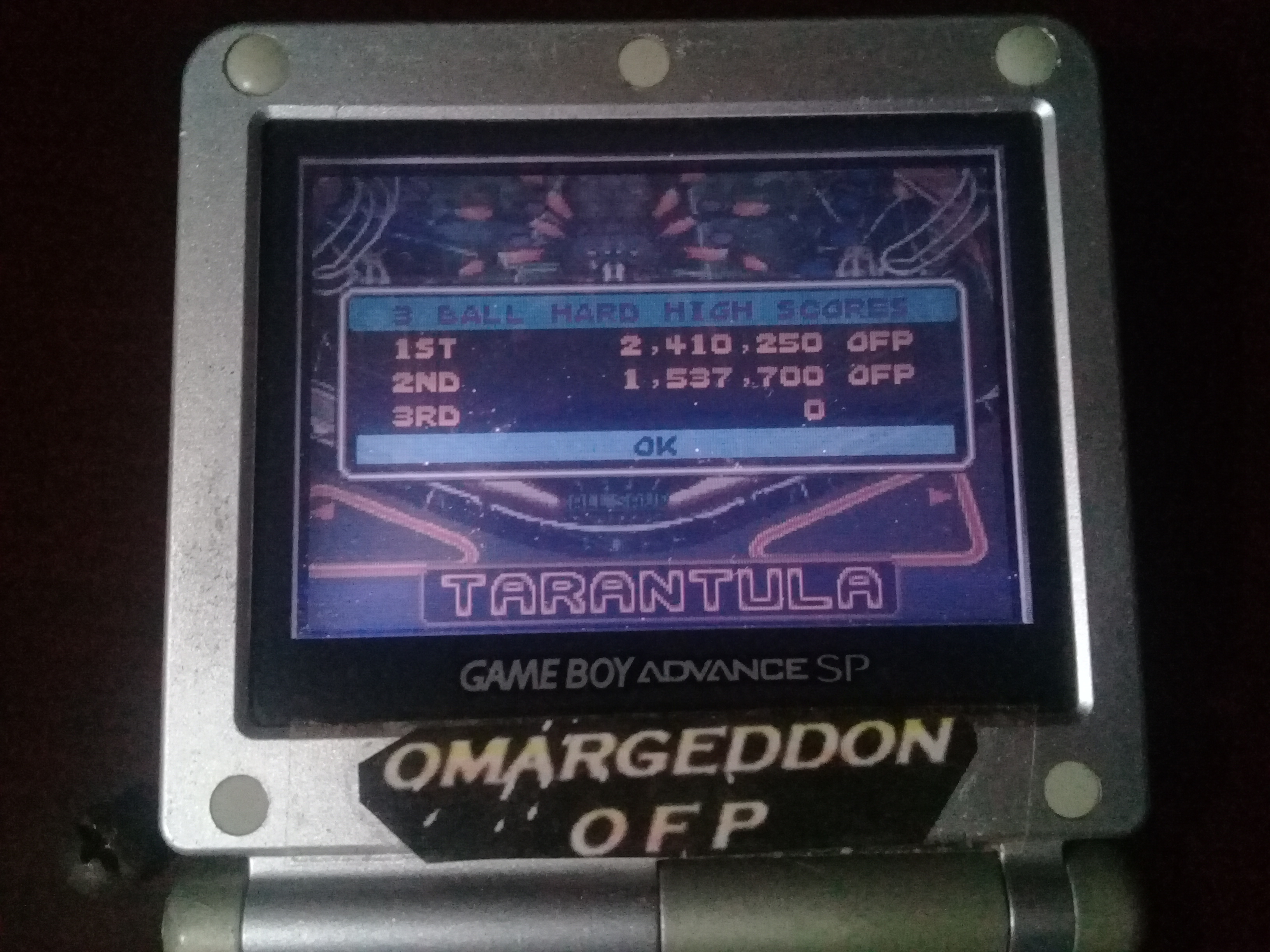 omargeddon: Pinball Advance: Tarantula [3 Balls] [Hard] (GBA) 2,410,250 points on 2019-10-20 01:39:45
