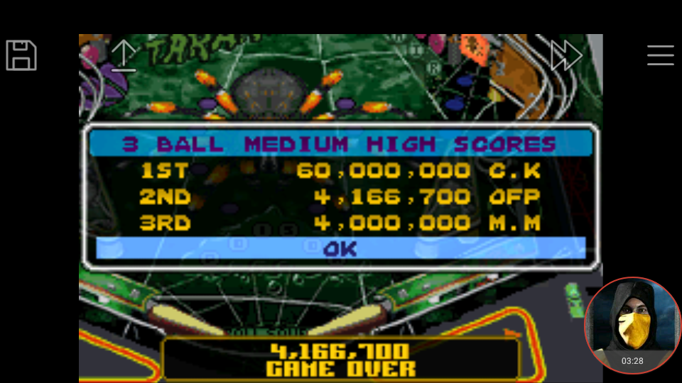 omargeddon: Pinball Advance: Tarantula [3 Balls] [Medium] (GBA Emulated) 4,166,700 points on 2018-03-28 20:59:17