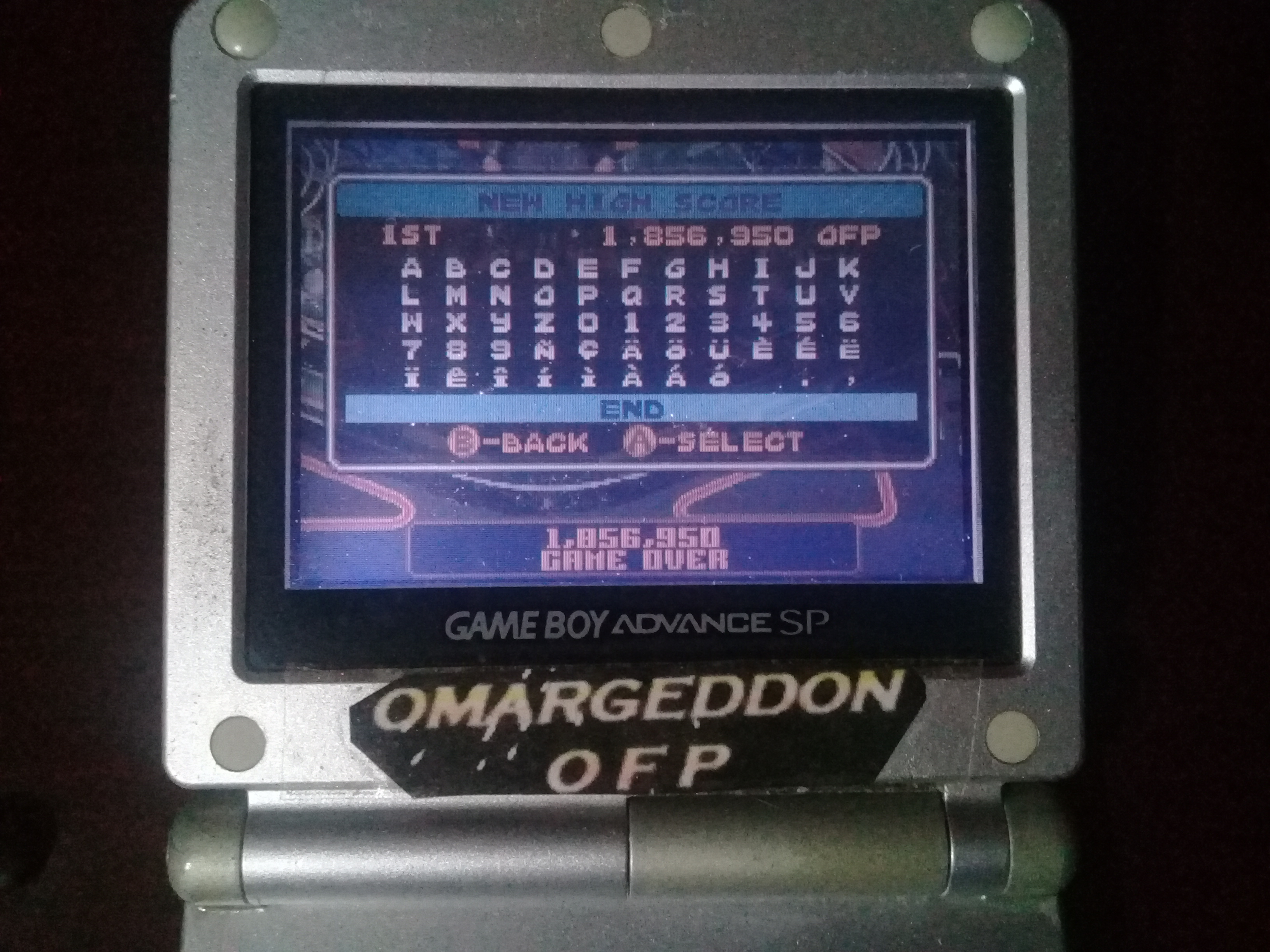 omargeddon: Pinball Advance: Tarantula [3 Balls] [Medium] (GBA) 1,856,950 points on 2019-10-20 01:17:12
