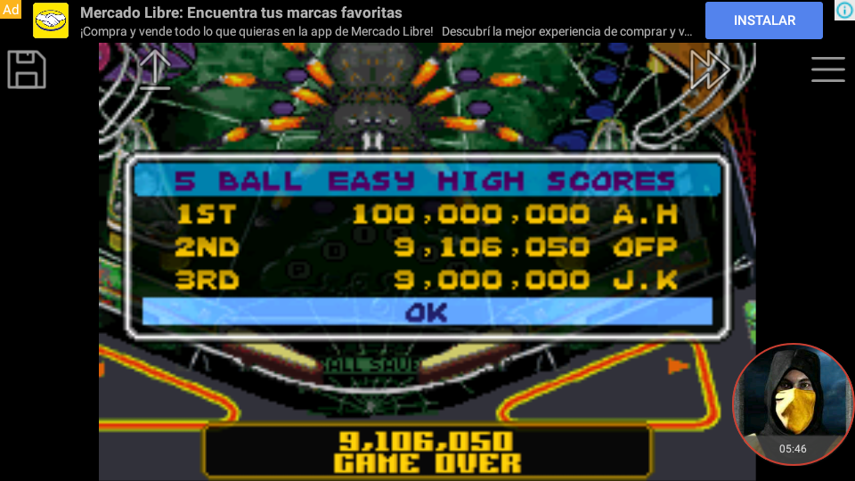 omargeddon: Pinball Advance: Tarantula [5 Balls] [Easy] (GBA Emulated) 9,106,050 points on 2018-04-13 20:02:31